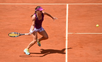 ROME, ITALY - MAY 14: Alexandra Dulgheru of Romania in action during her Third Round victory over Ekaterina Makarova of Russiaon Day Five of The Internazionali BNL d'Italia 2015 at the Foro Italico on May 14, 2015 in Rome, Italy. (Photo by Mike Hewitt/Getty Images)